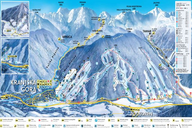 Kranjska Gora Ski Slopes Map-small