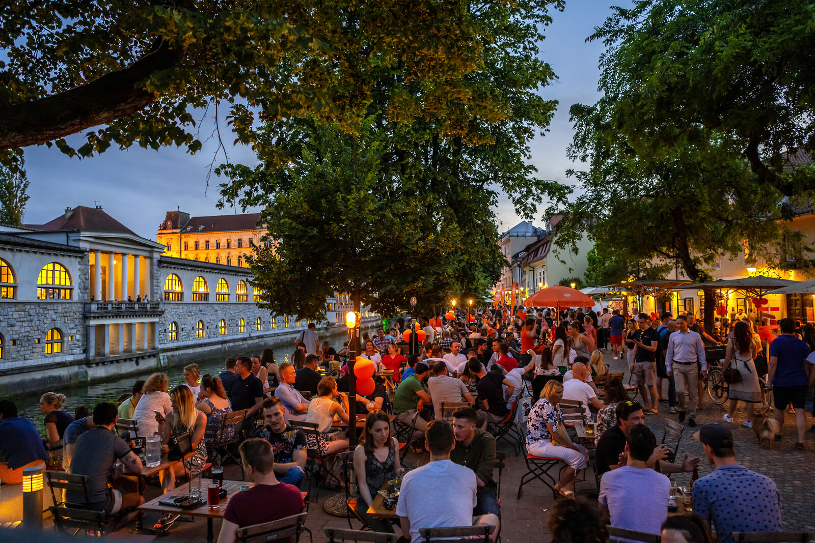 Ljubljana Old Town Riverbanks Market Atmosphere