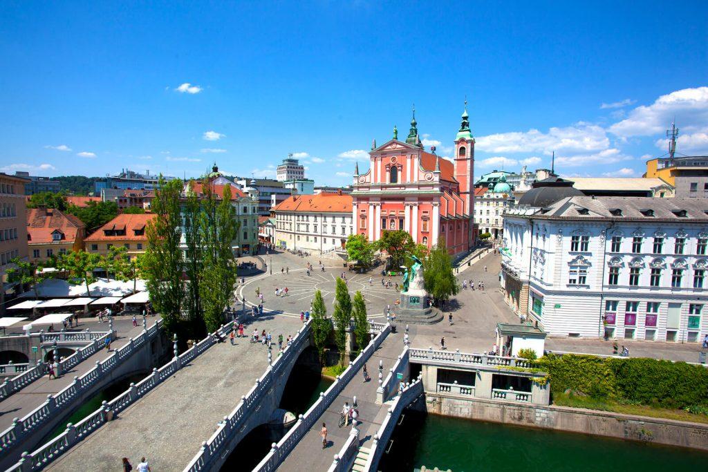 Triple Bridge Ljubljana Old Town Preseren Square City Center