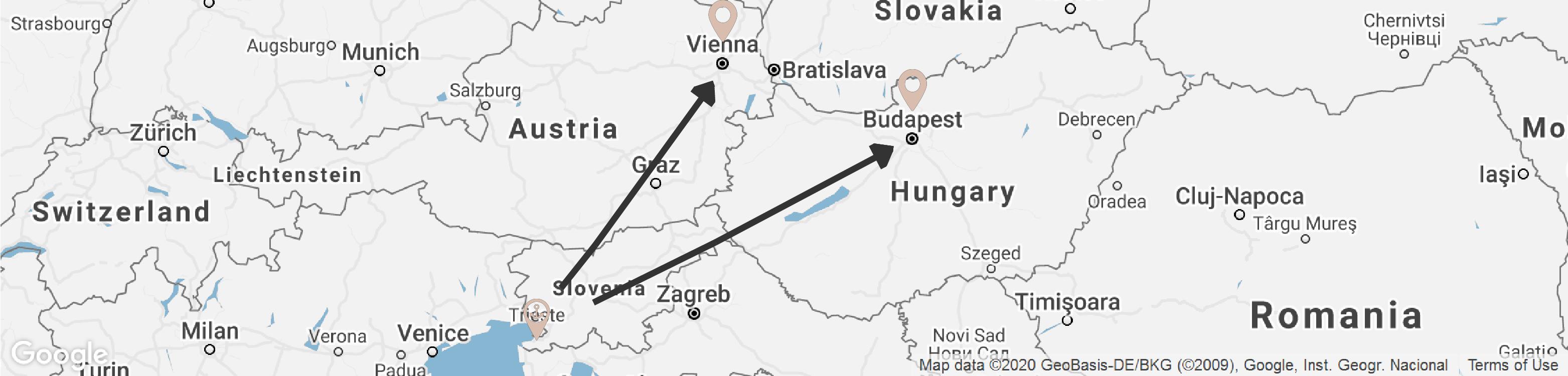 budapest vienna map
