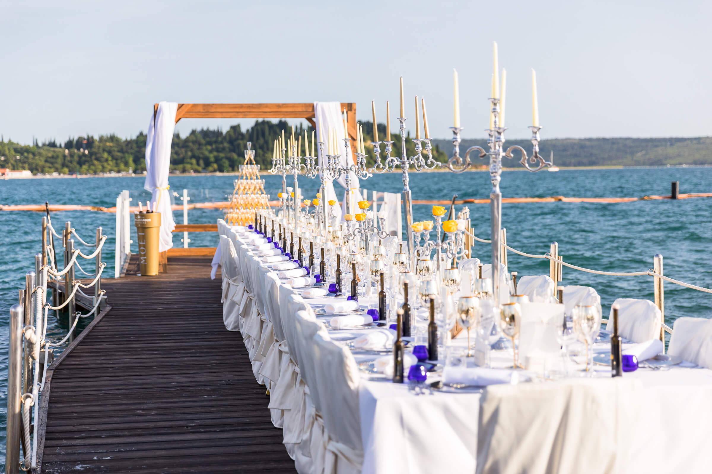 table setup near water in portoroz